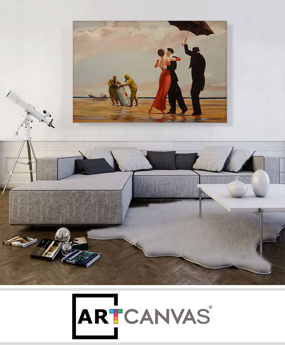 Dancing Butler on Toxic Beach Crude Oil | Banksy Canvas ART Prints