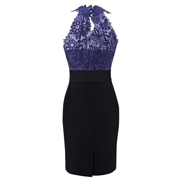 Karen Millen Floral Embroidered Dress Purple and Black DL232 found on Polyvore featuring women's fashion, dresses, embroidered flower dress, purple dress, purple day dress, floral dress and floral printed dress