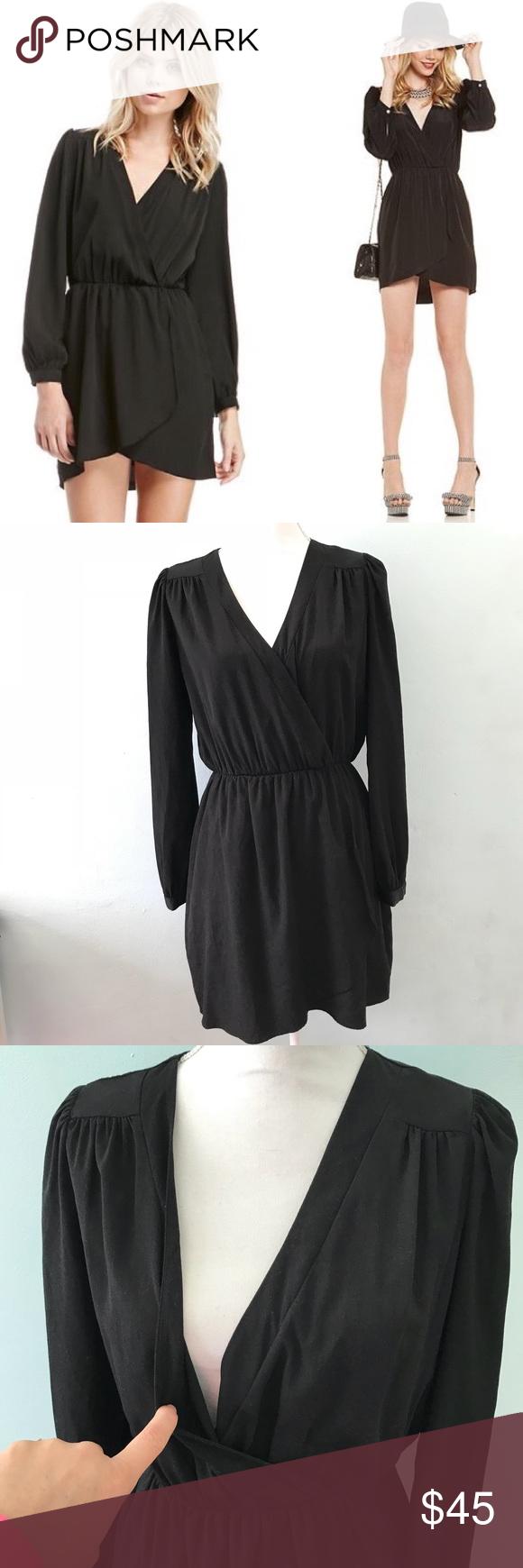 Honey punch black wrap dress elastic waits size l long sleeve wrap