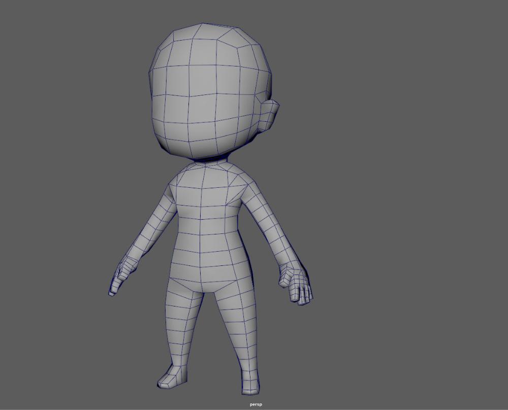 Base Chibi lowpoly highpoly 3D model Chibi, 3d model