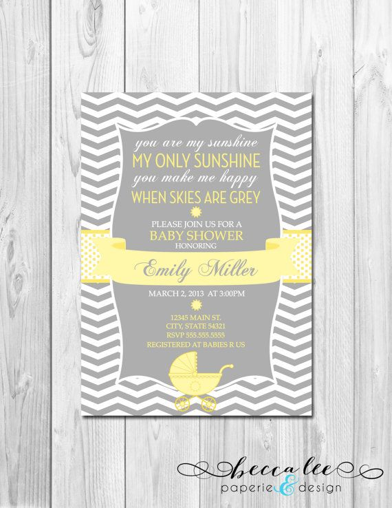Attractive You Are My Sunshine Baby Shower Invitation   Chevron Stripes   DIY    Printable
