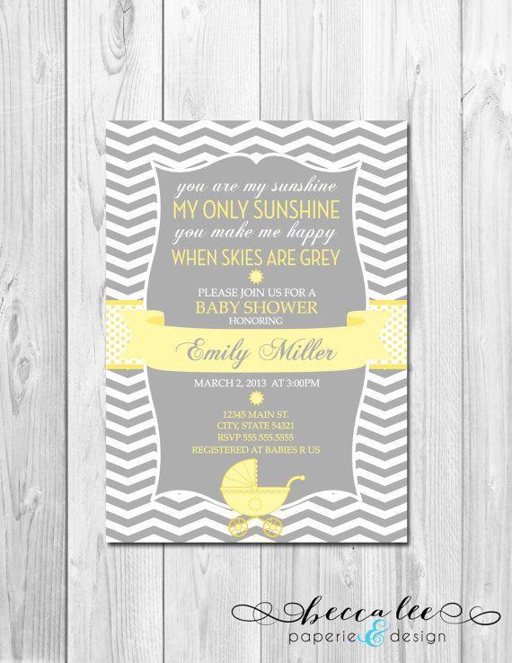 You Are My Sunshine Baby Shower Invitation   Chevron Stripes   DIY    Printable