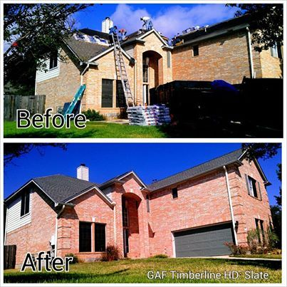 Before And After New Roof In Austin Tx Using Gaf Timberline High Definition Shingles In The Color Slate Roofing Shingling Radiant Barrier