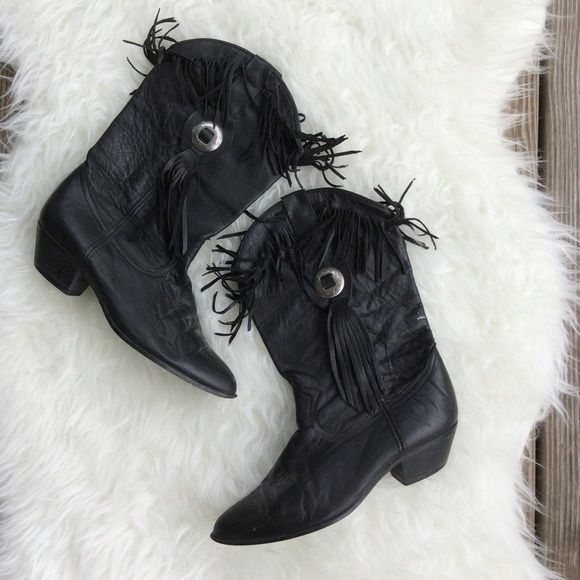 """Vintage Acme Black Fringe Cowboy Boots Vintage good used condition Acme black leather fringe cowboy boots. Size 7.5, 1.5"""" heel, 12"""" tall. Some white scuffing is pictured. Awesome boots! No trades, offers welcome. Vintage Shoes Heeled Boots"""