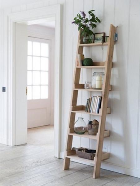 Light Raw Oak Small Shelf Ladder Bookcase This One
