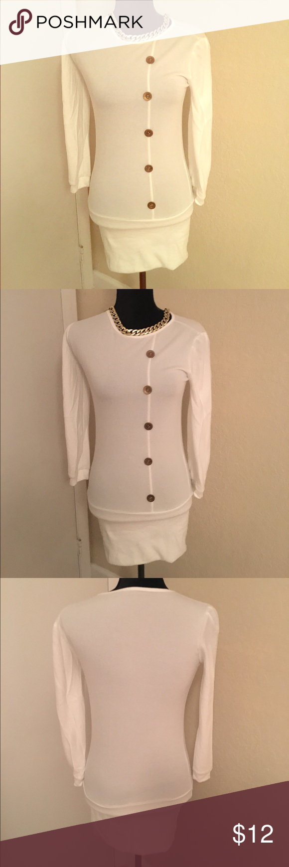 Mini Dress Off White Mini Dress with Gold Buttons. Chain does not come with Dress! 30 inches long, and 100% polyester! No offers! Price is already marked low! Dresses Mini