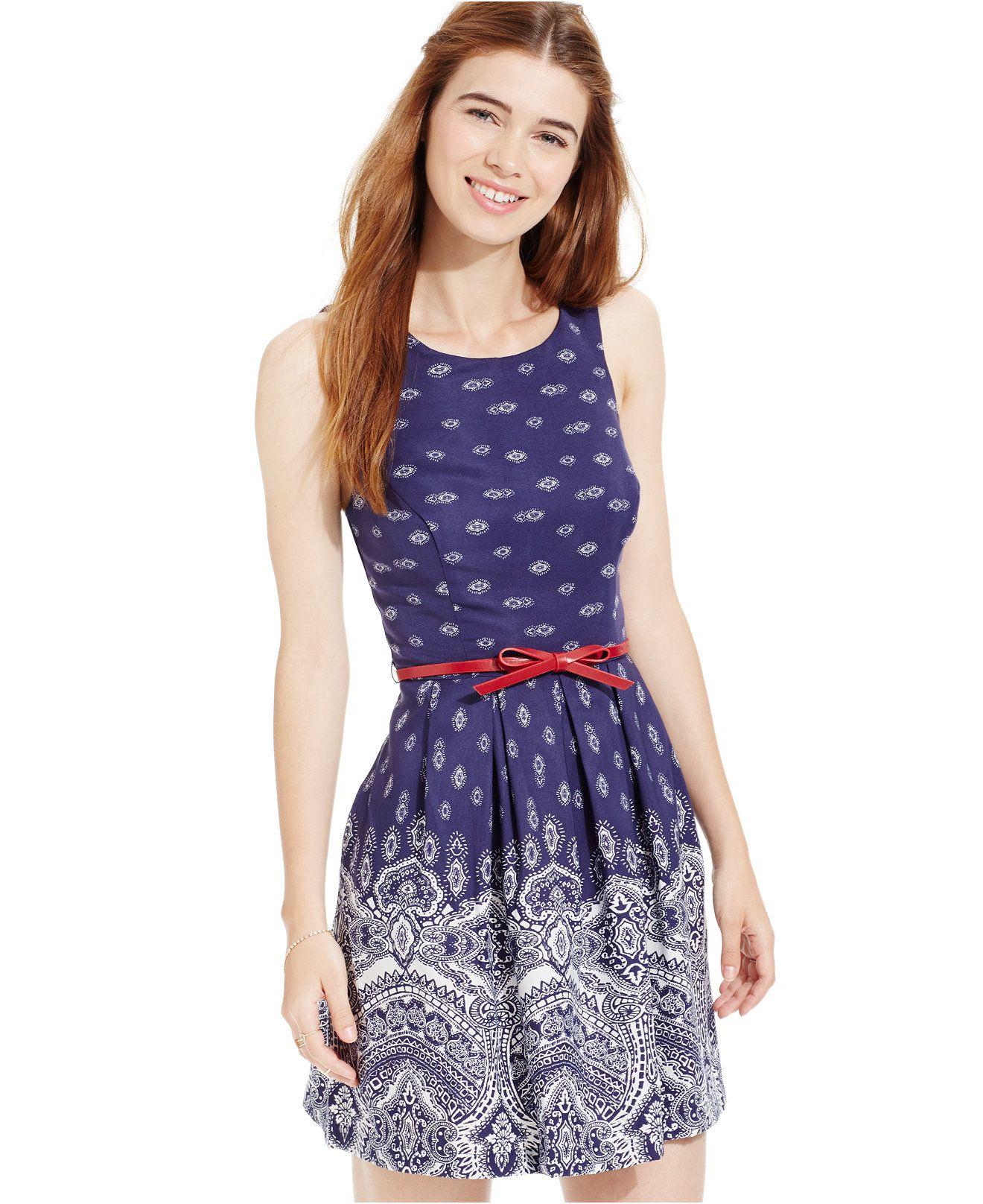 Teeze Me Juniors Printed Belted Dress Juniors Dresses Macy S Junior Dresses Mixed Print Dress Dresses [ 1616 x 1320 Pixel ]