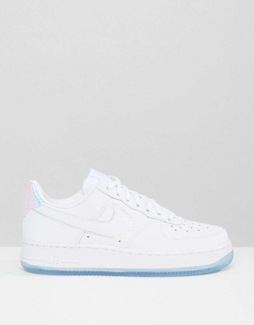competitive price 58645 d9060 Nike Air Force 1 07 Trainers In Holographic White