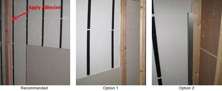 Partitioning Walls With Insofast Place A Bead Of Adhesive Approximately 1 From Each Side Of The Corner Press 2 X 2 25 G Installation Sheet Metal Drywall