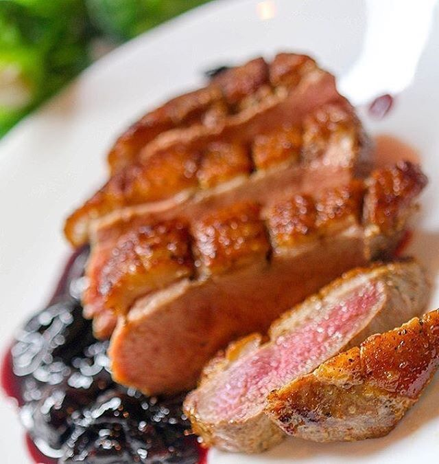 Pan Roasted Duck Breast With Juniper Cherry Sauce At Macksupper
