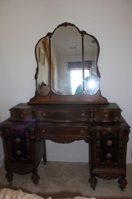 antique vanity dresser with mirror | Antique Furniture: Antique Vanity,  colonial revival, mirror - Antique Vanity Dresser With Mirror Antique Furniture: Antique