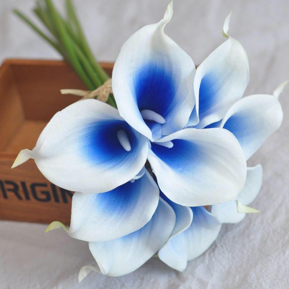 9pcs real touch royal blue picasso calla lilies calla lily real 9pcs real touch royal blue picasso calla lilies calla lily real touch flowers wedding bouquets centerpieces izmirmasajfo