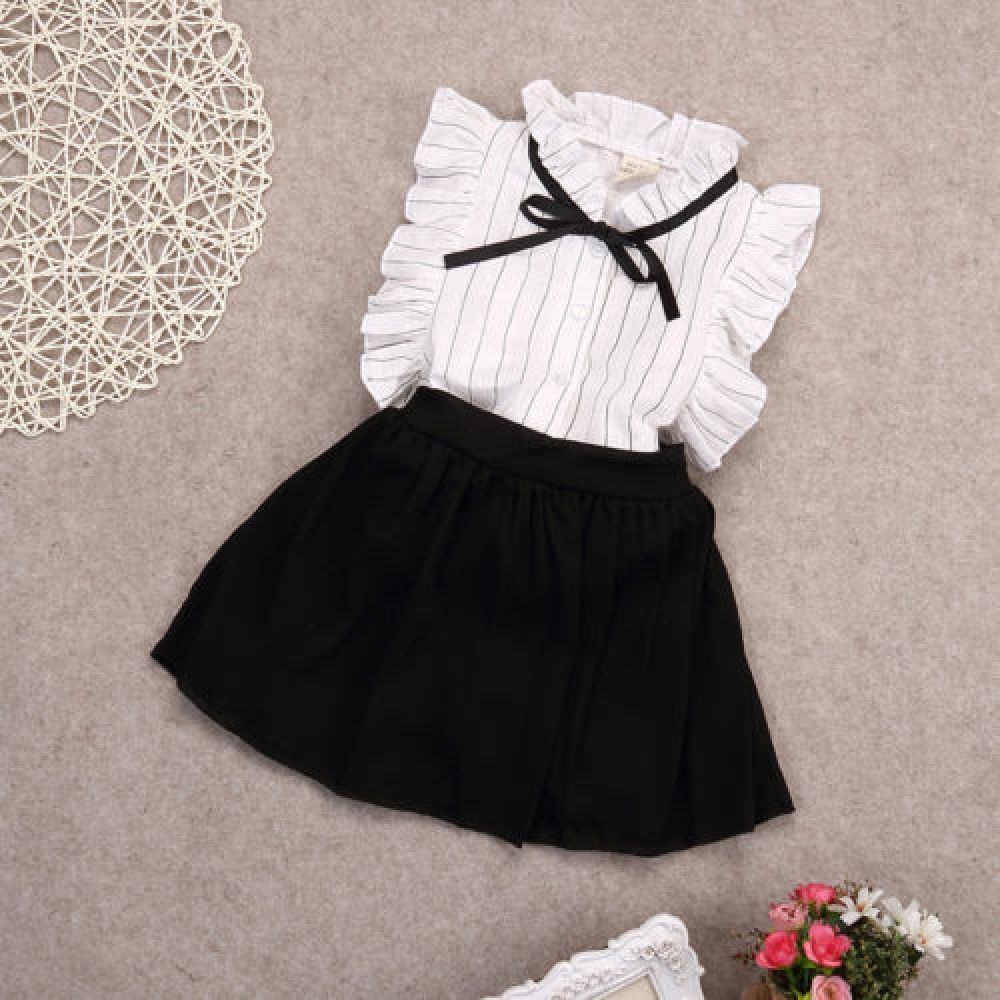 Kids Girl Summer Casual Outfit Set Toddler Girl Short Sleeve+Stripe Skirt Clothes 2Pcs Suit