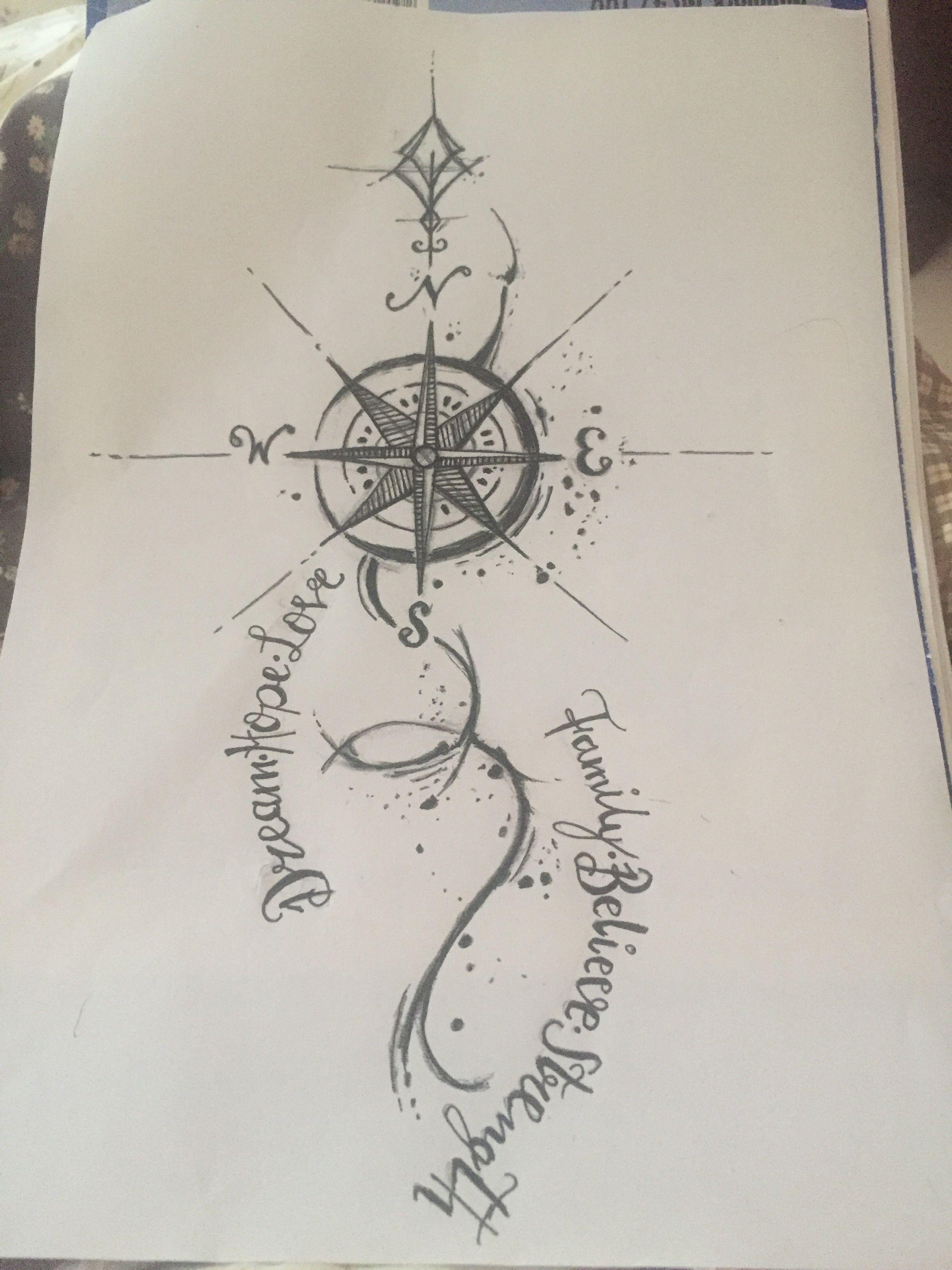 Selbst gezeichnetes tattoo familie u kompass mit verspielter schrift