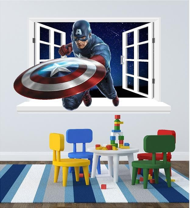 Wall Decals For The Childrenu0027s Bedroom (sticker) Captain America Window  Decal For The Wall (size 58 X 95 Cm) Instruction And A Scrapper To Help Lay  It On