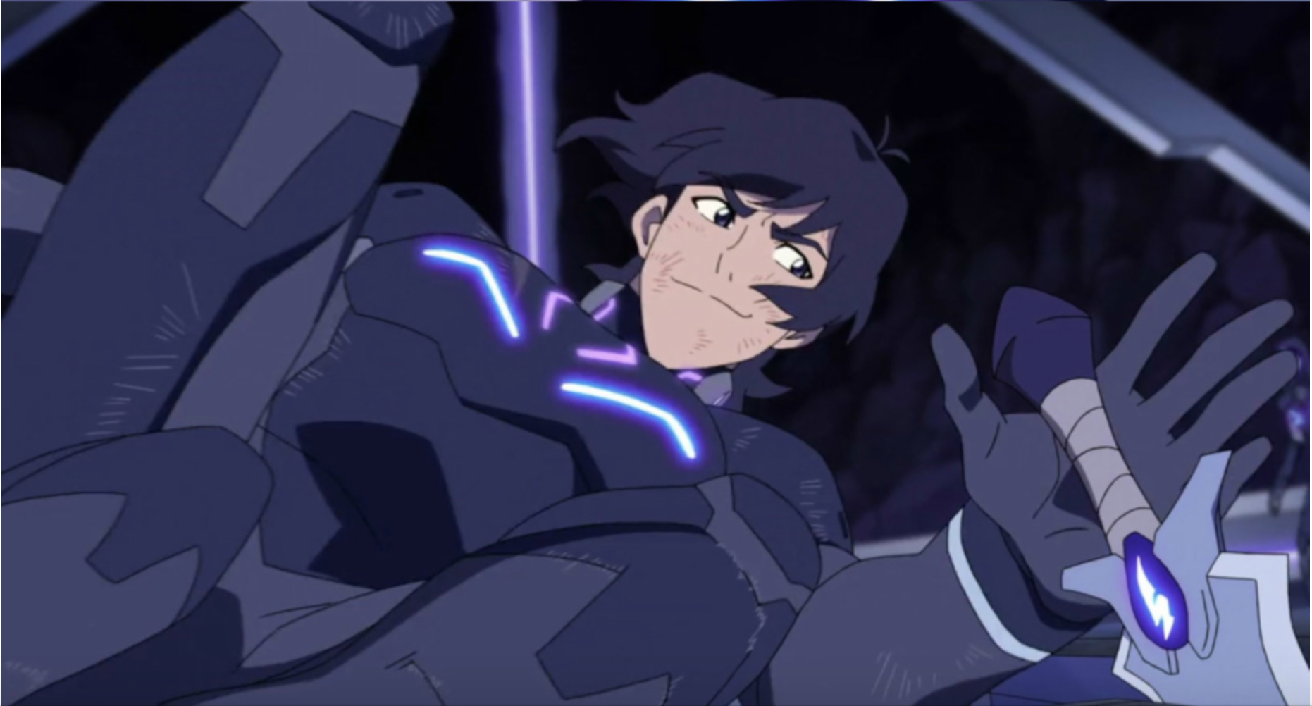 Keith in his Galra armor in a challenge battle from Voltron Legendary Defender season 2