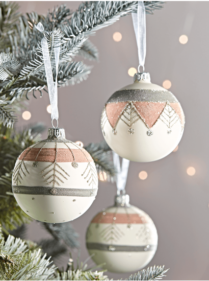 Six Handpainted Ikat Baubles In 2020 Scandi Christmas Decorations Christmas Ornaments Diy Christmas Ornaments