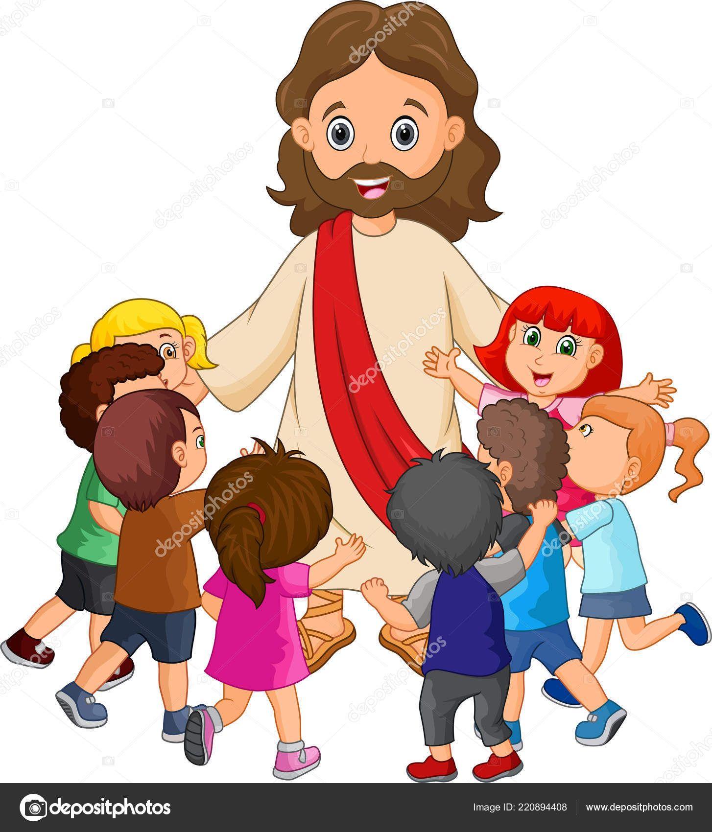 Descargar Jesus Cristo Rodeado Por Los Ninos De Dibujos Animados Ilustracion De Stock Tecknade Serier