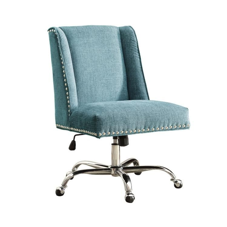Linon 178404aqua01u draper office chair aqua chrome base