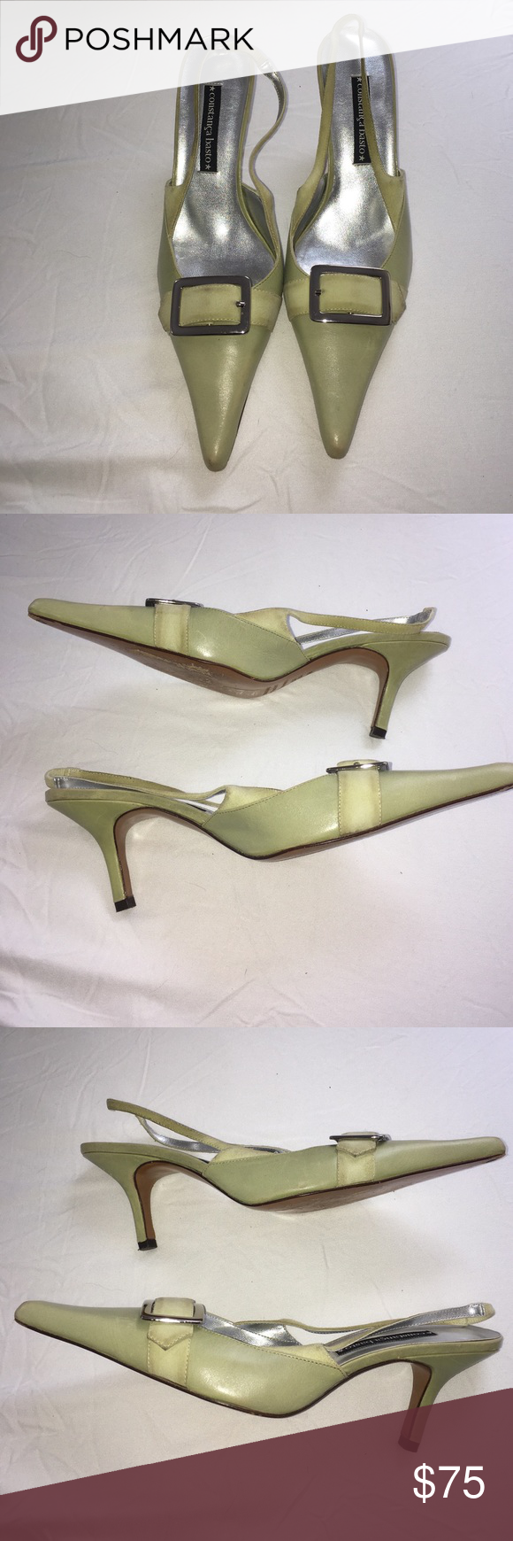 """Constança Basto mint leather heels Constança Basto mint leather heels. Suede detail, ankle strap, buckle accent, and pointy toe. 3"""" heel. Made in 🇧🇷 pre-loved condition with some wear to leather. Constança Basto Shoes Heels"""