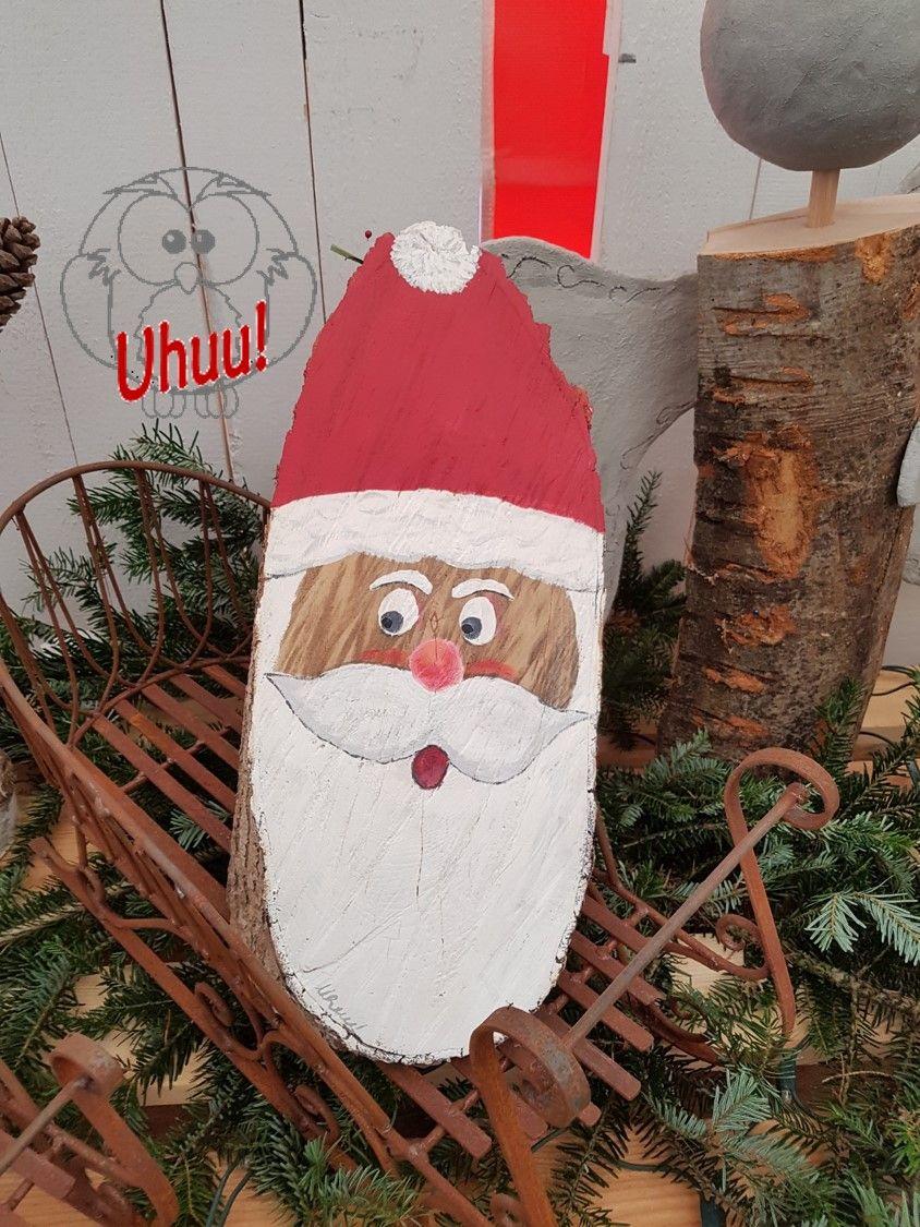 St nikolaus aus rund holz gesicht handgemalt malen auf holz dekoration f r weihnachten - Holzarbeiten weihnachten ...
