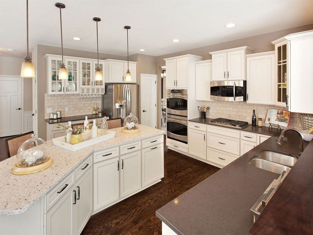 Contrasting Countertops And Glass Fronted Cabinets Are Memorable Touches The Linden Iii Plan A