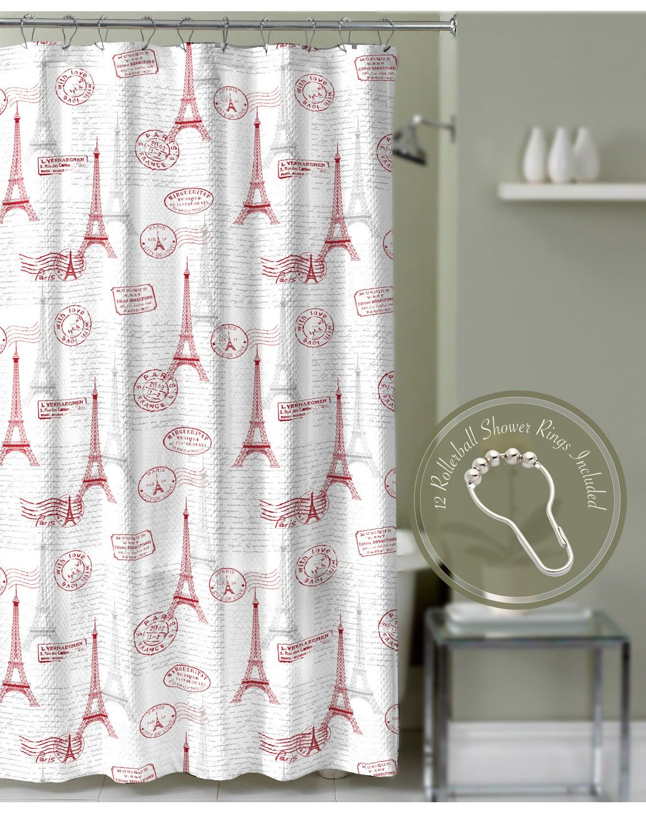 Crest Home Paris Postal Eiffel Tower Shower Curtain Red With
