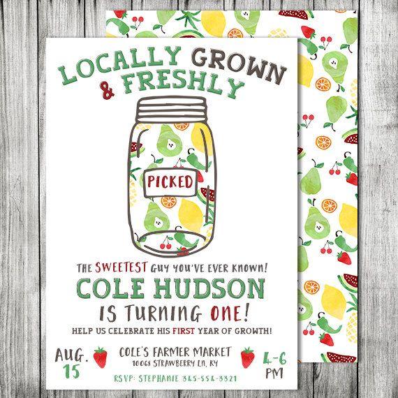 Boys Farmer Market Invite - Freshly Picked Invite - First Year Of - fresh birthday party invitation designs