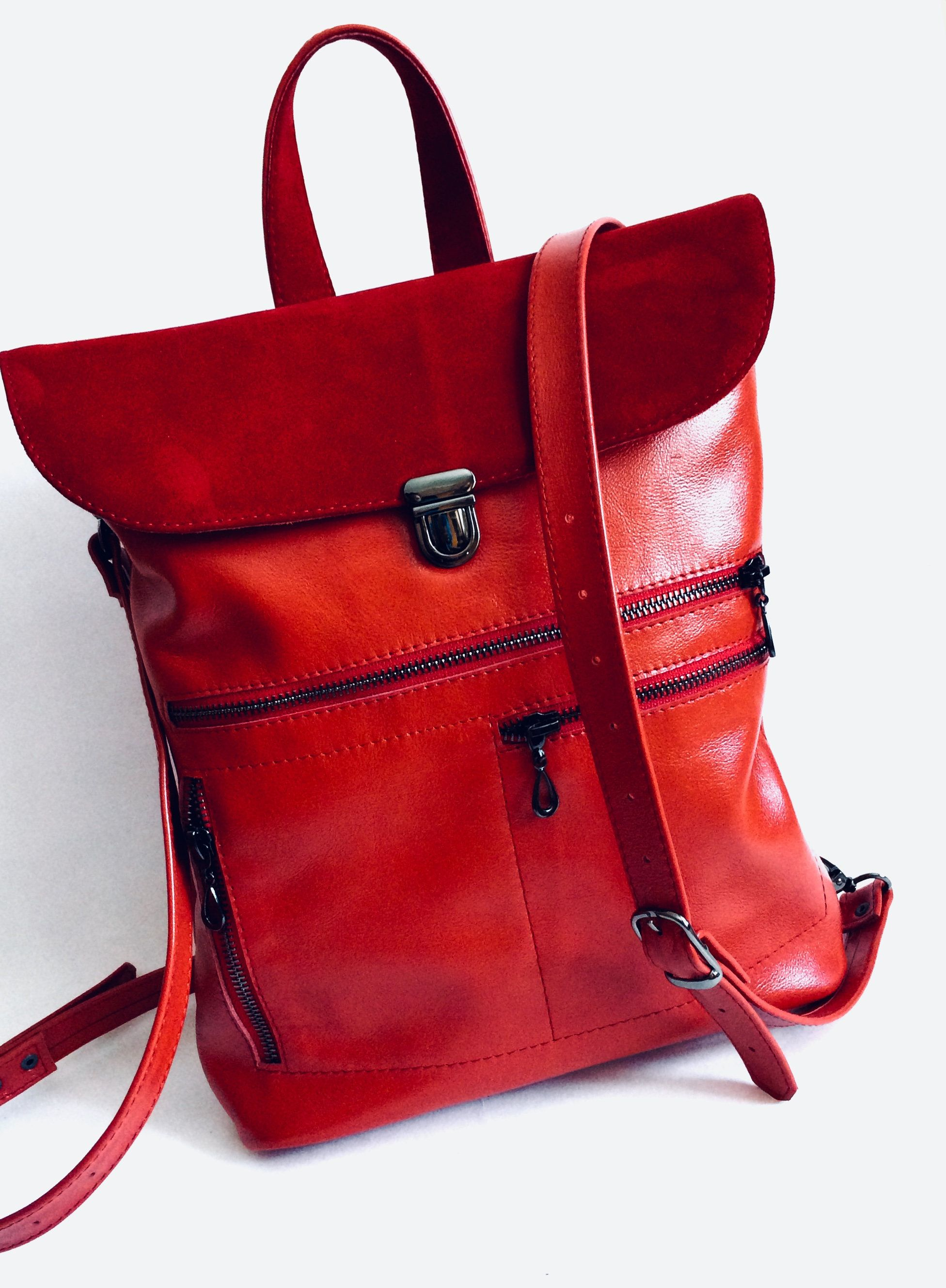 LITTLE Leather Backpack Purse Red, women Rucksack Leather, RED backpack,  suede backpack purse 974f38e29b