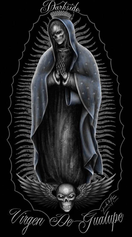 virgin mary drawings black white virgin mary skeleton by sheblackdragon ideas pinterest. Black Bedroom Furniture Sets. Home Design Ideas