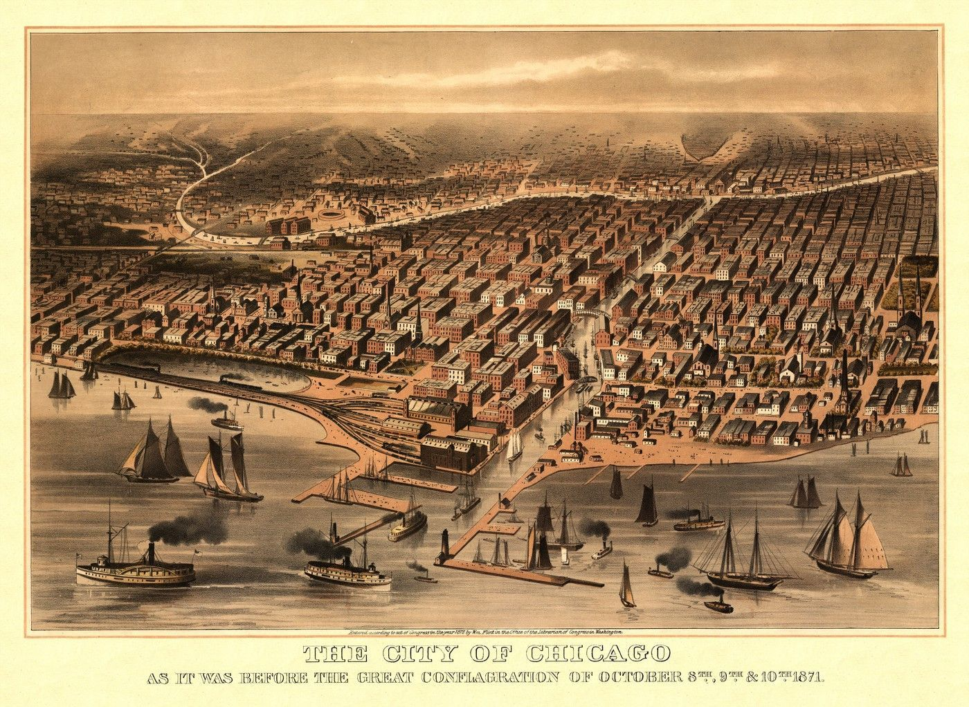 Chicago Historic Map of Chicago Illinois
