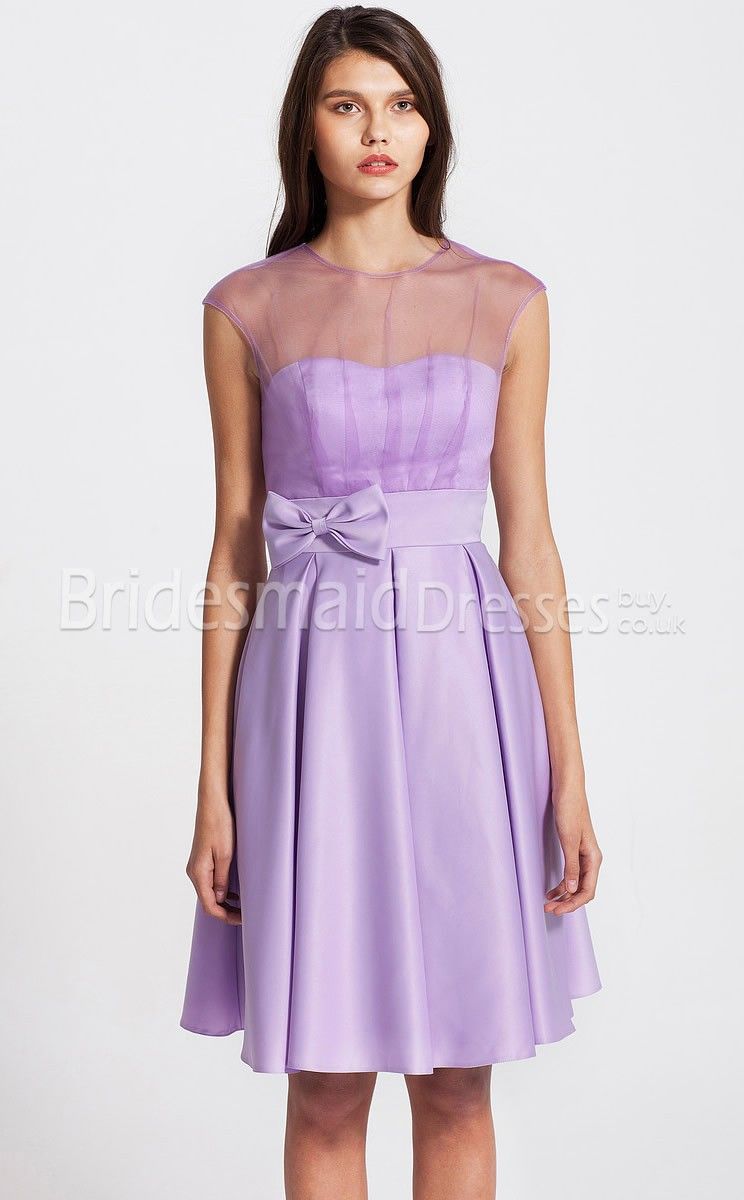 Satin,Tulle Cheap A-line Sweetheart Short With Bows Lilac Bridesmaid ...