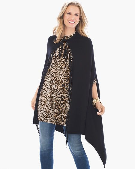 """Not all heroes wear capes (but most fashion icons do.) This dramatically draped layering piece is made all the more necessary with a knotted fringe detail.     Length: 27.5"""".  Cotton, rayon and nylon.  Machine wash. Imported."""