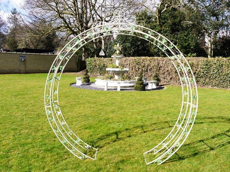 Wrought Iron Painted Antique Cream Round Garden Arch Garden Arch Flower Decorations Arch
