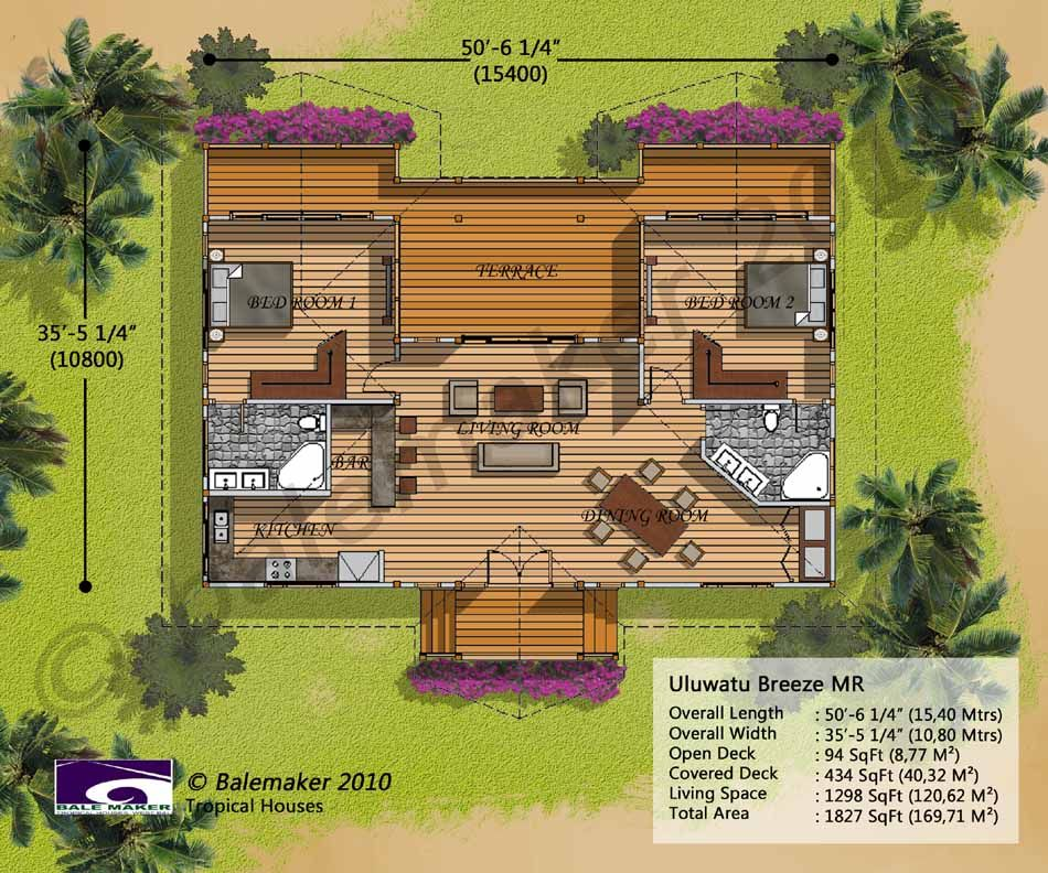 Uluwatu Breeze Tropical House Design Hawaiian Homes Beach House Floor Plans