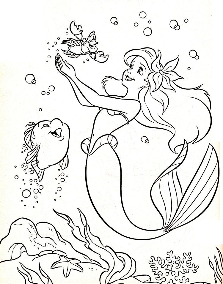 Disney Coloring Pages Flounder Sebastian Princess Ariel Pages De