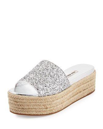34b67ea79d9 Glitter Platform Espadrille Slide Sandal