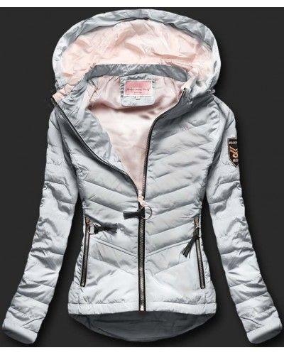 Dámská prošívaná bunda s kapucí W568-1 šedá  c34e707a78