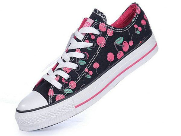 Black Converse All Star Low Top With Red Cherries Canvas Shoes Sale