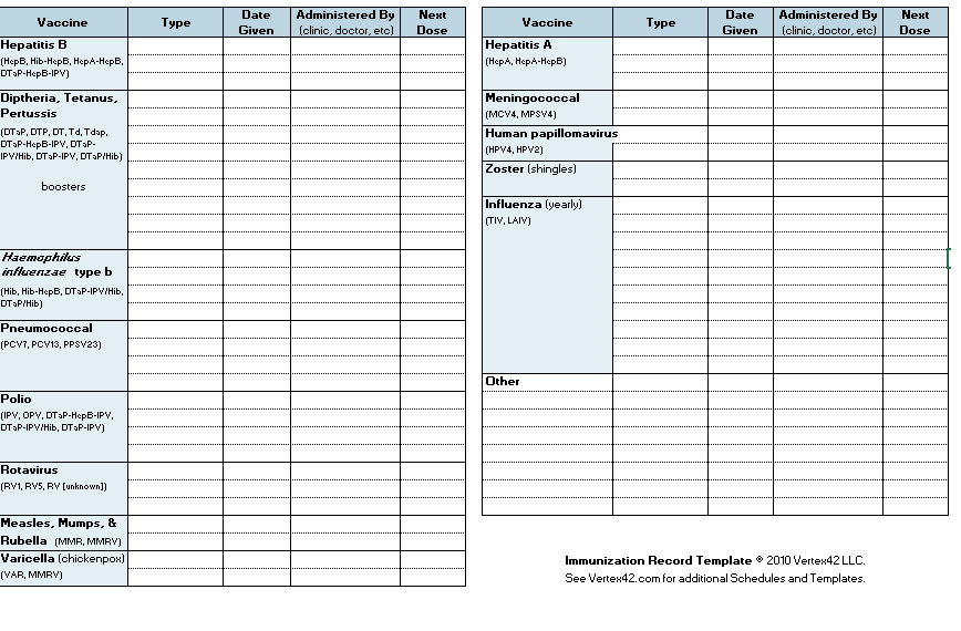 Immunizations Checklist Create Pre Made Template In Excel Baby