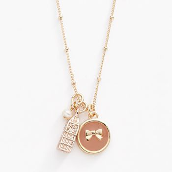 LC Lauren Conrad Two Tone Simulated Pearl Big Ben and Halo Bow Charm Necklace