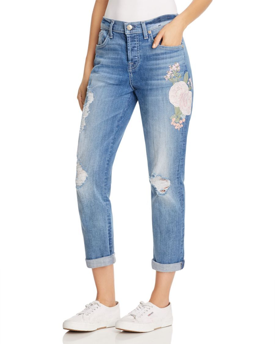 7 For All Mankind Josefina Skinny Boyfriend Jeans In Denim