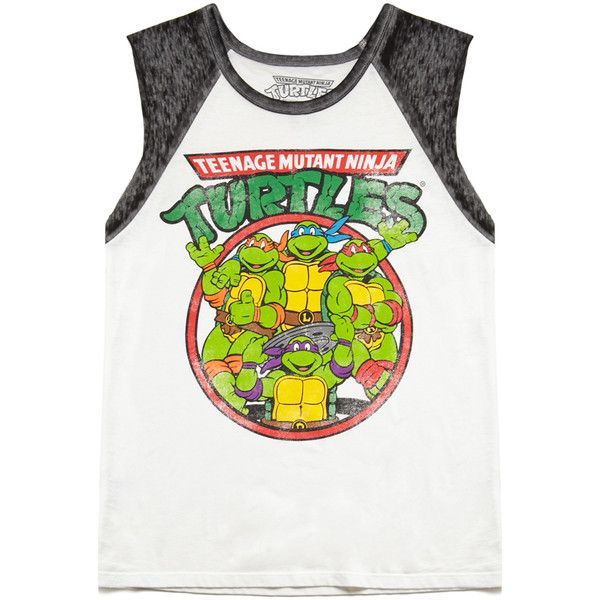 Forever 21 TMNT Muscle Tee (14 AUD) ❤ liked on Polyvore featuring tops, tank tops, blusas, shirts, henley shirt, graphic tank, forever 21 shirts, graphic design shirts and muscle t shirts