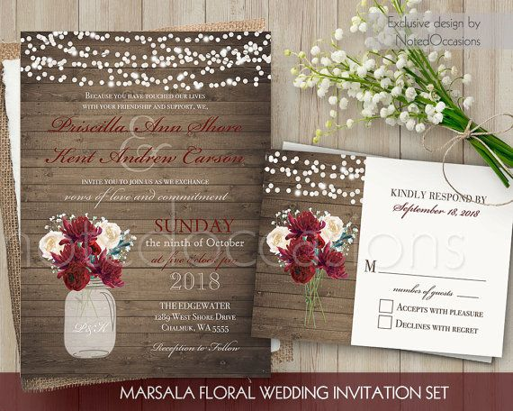 Burgundy Wedding Invitation Floral Mason Jar Wedding Etsy Mason Jar Wedding Invitations Floral Wedding Invitations Fun Wedding Invitations