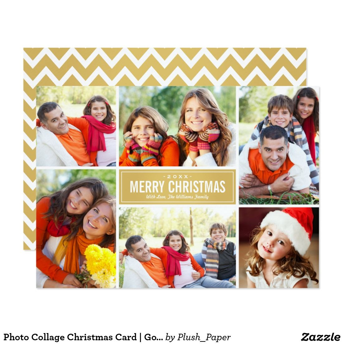 photo collage christmas card gold chevron - Collage Christmas Cards