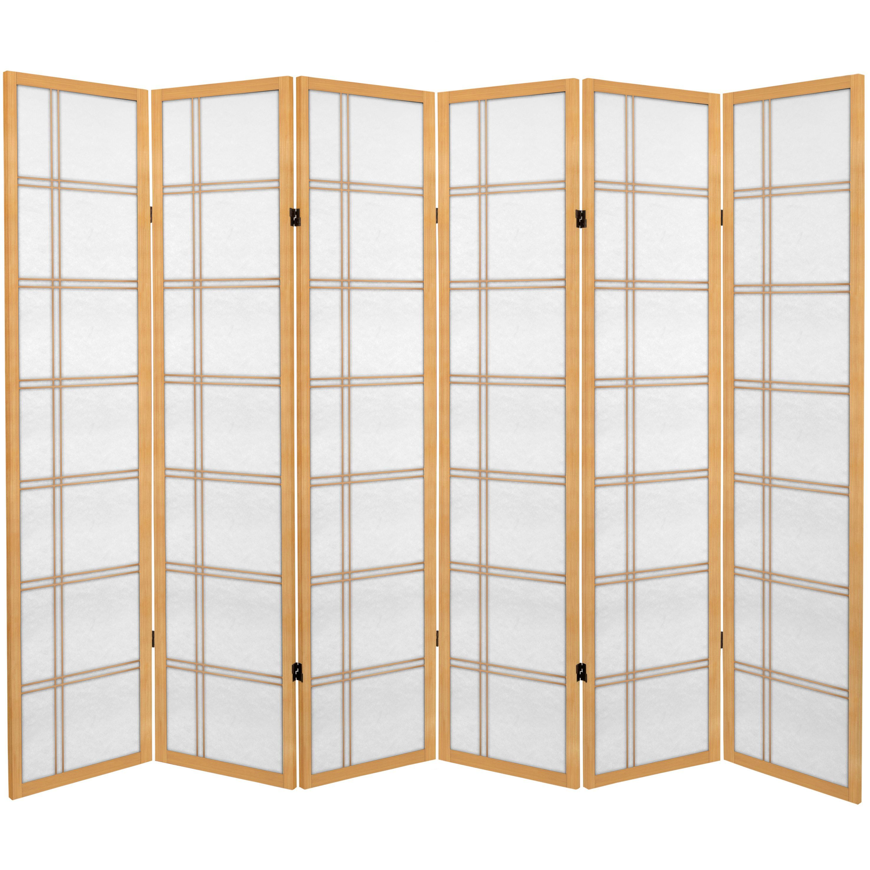 Oriental Furniture 6 Foot Tall Canvas Double Cross Room Divider