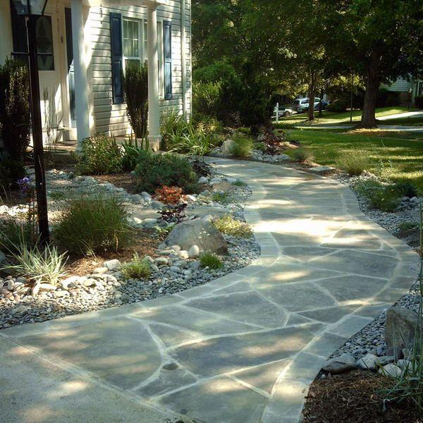 front patiowalkways ideas hardscape walkway flagstone stone walkway garden patio decor - Patio Walkway Ideas