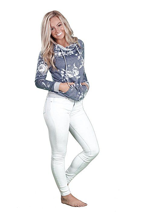 fad1c57bfeda Inspire L Amour Womens Allegra Floral Hoodie Navy Medium at Amazon Women s  Clothing store