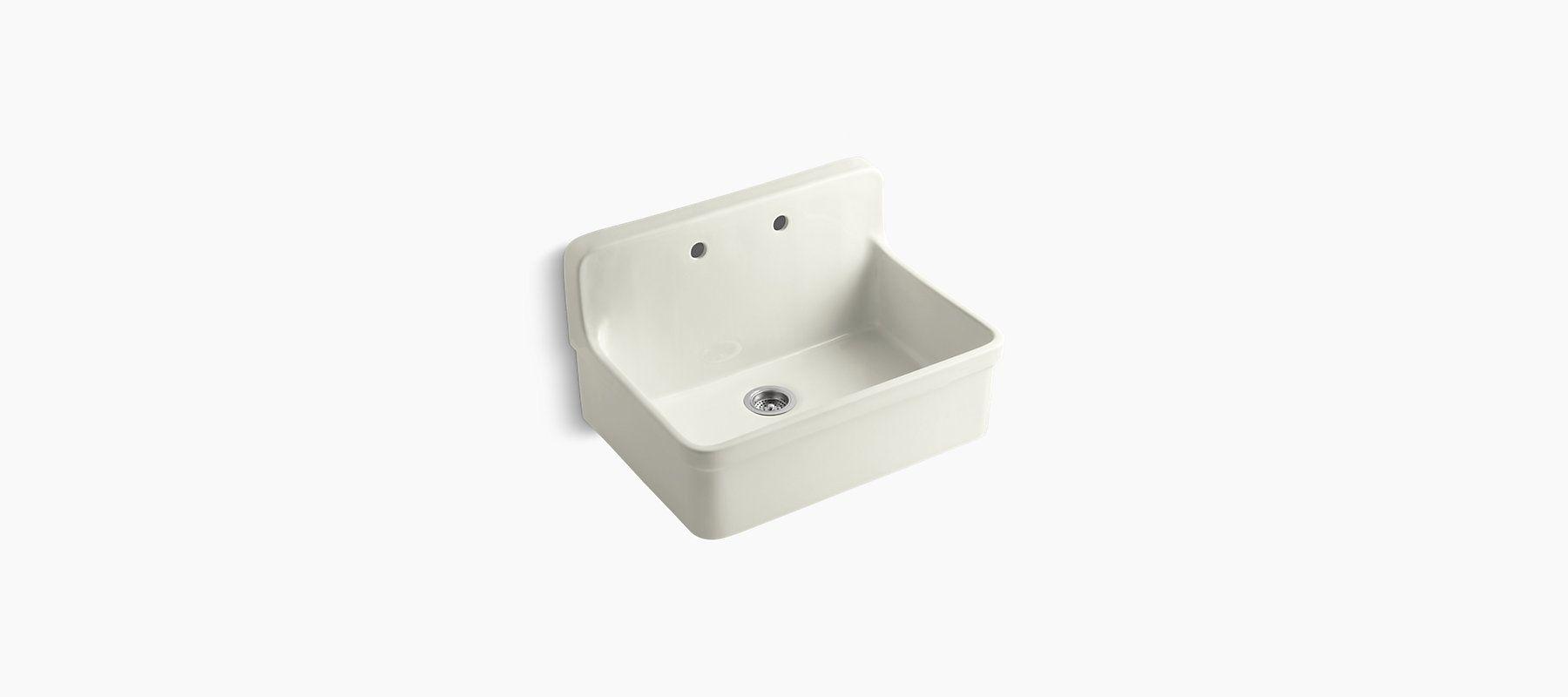 An Integrated Backsplash And Apron Give The K 12700 Kitchen Sink A Vintage Apron Front Kitchen Sink Sink Single Bowl Kitchen Sink