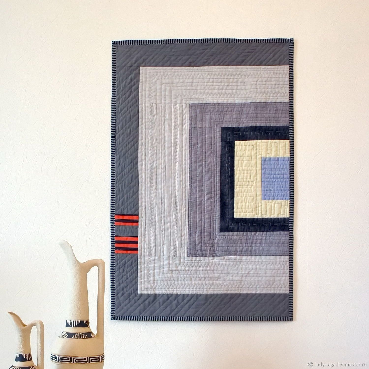 Grey Wall Hanging Small Modern Quilt Лофт